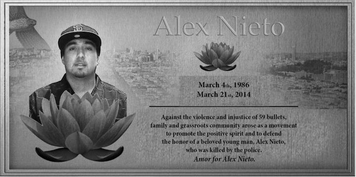 Amor for Alex Nieto Plaque Language